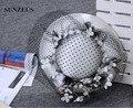 Chapéus Das Senhoras Do Casamento de alta Qualidade Com Preto Dot Tulle Veil Acessórios Decoração Flor Elegante Chapéu de Festa À Noite As Mulheres SQ024