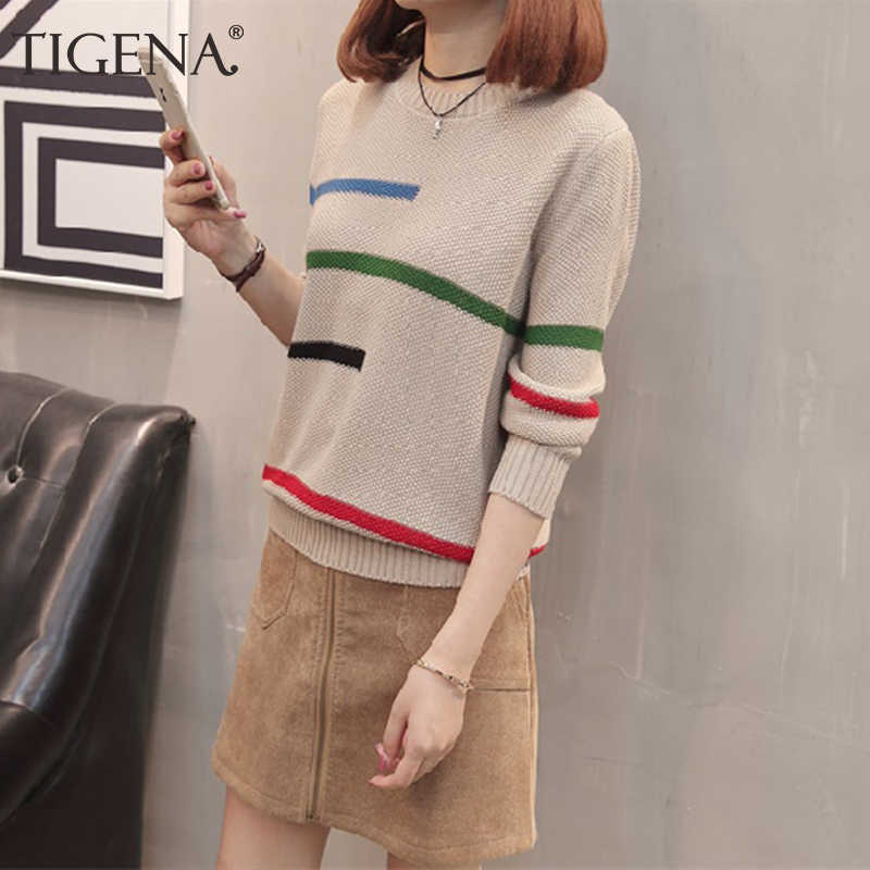 TIGENA 2019 Herbst Winter Pullover Pullover Frauen Jumper Koreanische Schöne Farbe Gestreiften Langarm Gestrickte Pullover Weibliche Khaki