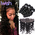 Iwish 8A Grade Loose Wave Lace Frontal Closure With Bundles Human Hair 4Bundles With Frontal Brazilian Virgin Hair With Frontal