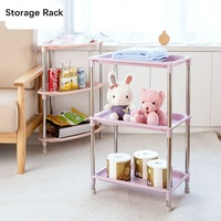 Movable Storage Rack Kitchen Multi storey Shelf Plastic Storage Shelf Large Toilet Trimming Frame