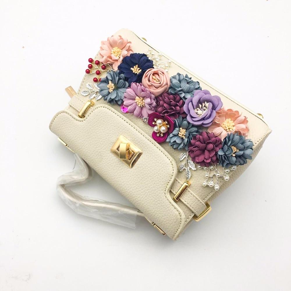 Thailand tide brand platinum all-match female bag stereo flower pearl diamond shoulder bags platinum small bag