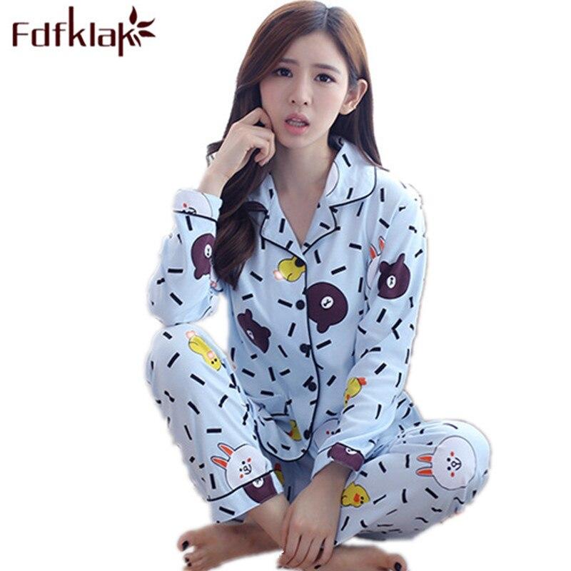Fdfklak M-3XL Plus Size Autumn Woman Sleepwear Warm Pajamas Family Pyjamas Tracksuit Ladies Pajama Long Sleeve Pijama Set Q644