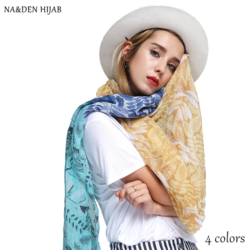 NEW ombre color scarf flower leaf print shawl fashion hijab luxury women scarves shawls brand soft muffler islamic hijabs