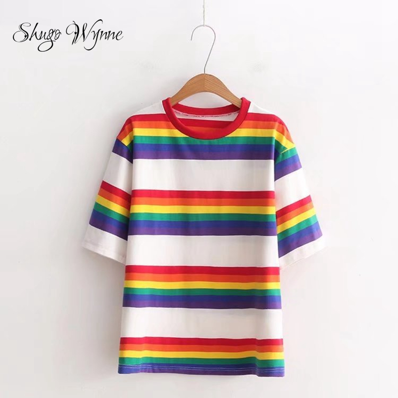 Shugo Wynne 2018 Summer New Women Fashion Preppy Style Rainbow Stripes Tees O-neck Short Sleeve Casual Loose T shirt Tops