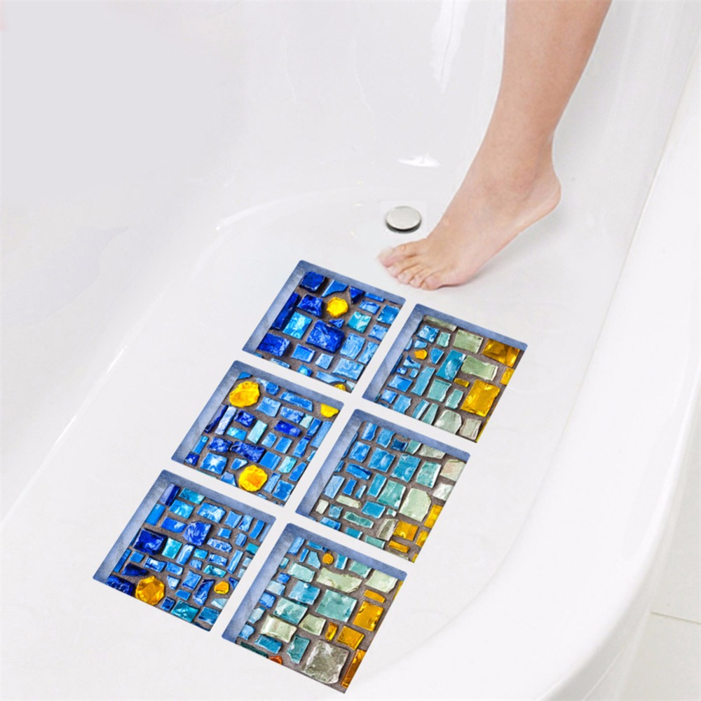 Yanqiao Blue Mosaic 3D DIY Anti Slip Safety Shower Bath Tub Decal ...