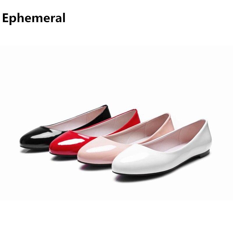 Señora simple flattie cómodo dedo del pie redondo rojo blanco anti-resbaladizo r