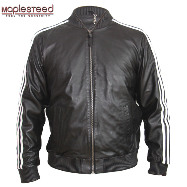 f9d0d50fb MAPLESTEED Men s Leather Jacket 100% Sheep Skin Black Red White ...