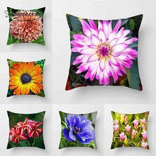 Fuwatacchi Flower Painted Cushion Cover Tulip Chrysanthemum Pillows Cover For Car Chair Home Sofa Decorative PIllowcase цены