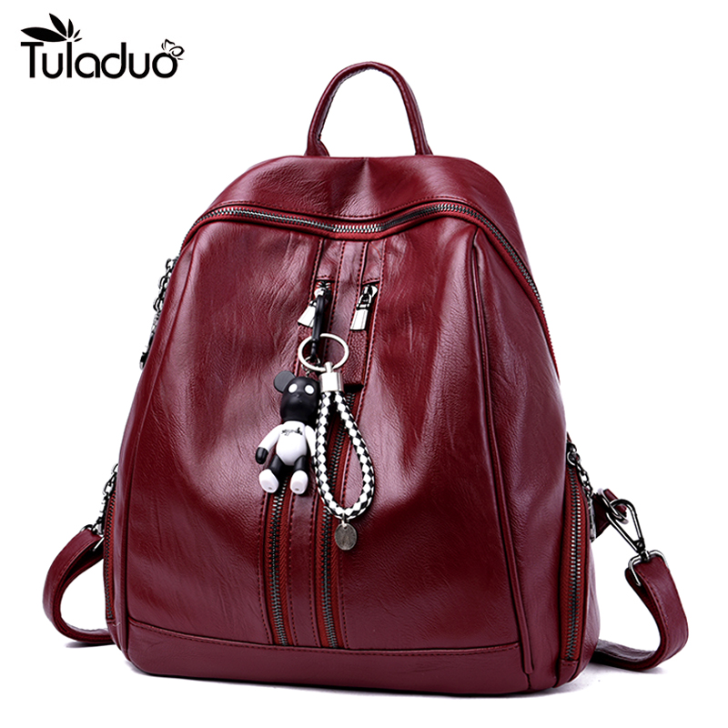 High Quality Leather Backpacks Women School Style Soft Travel Bag PU Leather Backpack Female For Teenagers Fresh Brand Designer