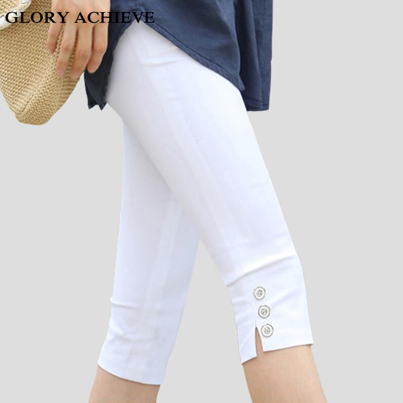 S-4XL 2018 New Women Summer Casual Candy Color Plus Size Skinny Slim Pencil   Pants   Trousers High Stretch   Capris   Promotion.