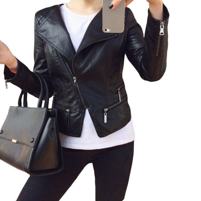 Искусственные мягкие кожаные куртки HOT 2017, Новая мода осень-зима женщин PU черный блейзер молнии пальто мотоцикл верхняя одежда Pimkie