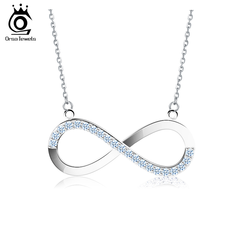 ORSA JEWELS 2018 AAA Brilliant Austrian CZ Infinity Pendant Silver Color Necklace for Women/Lover Fashion Jewelry Gift ON112 недорго, оригинальная цена