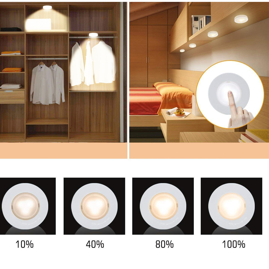 LED Puck Lights Close Wardrobe Stair Hallway Night Lamp 2 Colors Wireless Dimmable Touch Sensor Under Kitchen Cabinets Lights