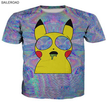 2017 Summer Popular Character Pokemon Print T Shirt Men Cartoon Casual Shirts 3D Tees