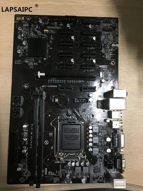 Lapsaipc B250 BTC-12P B250 BTC 12P 12PCIE 12GPU LGA 1151 DDR4 ATX BTC Mining Motherboard replace TB250-BTC PRO H81 BTC PRO TB85
