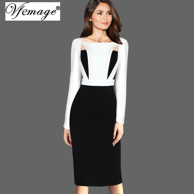 5a4f86ae1c11 US $16.99 |Vfemage Women Autumn Winter Elegant Cutout Colorblock Contrast  Square Neck Slim Business Casual Work Party Bodycon Dress 7728-in Dresses  ...