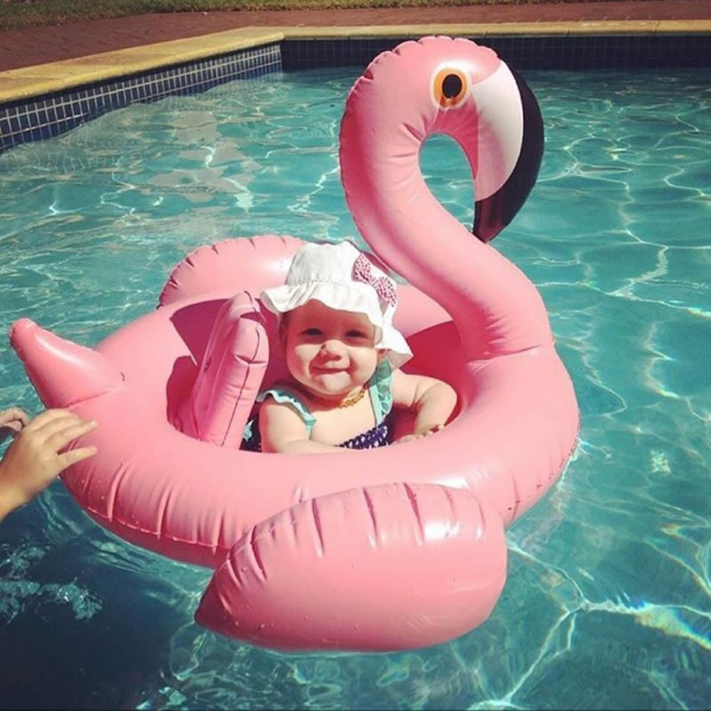 Baby Flamingo Inflatable Pool Float - Inflatable Baby Infant Flamingo Swim Ring Pool Float - Popular Baby Infant Swimming Toy -