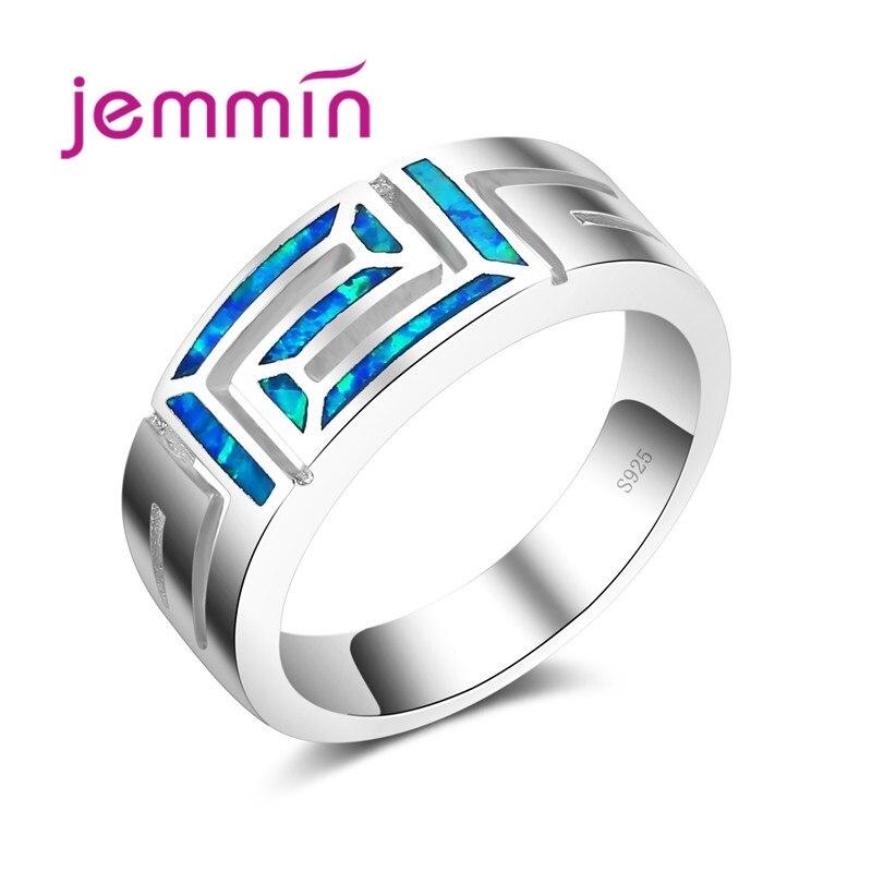 2019 m. Naujas mados derliaus elegantiškas vandenyno mėlynos spalvos opalas žiedas 925 sidabro sidabro spalvos dailūs juvelyriniai žiedai moterims, moterims