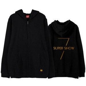Super junior concert world tour super show 7 same printing zipper hoodie jackets kpop unisex fleece/thin zipper sweatshirt