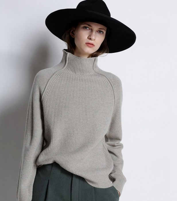 addnee New Autumn and Winter High collar Sweater Women Loose pure Cashmere Sweater Thickened Fashion stripes