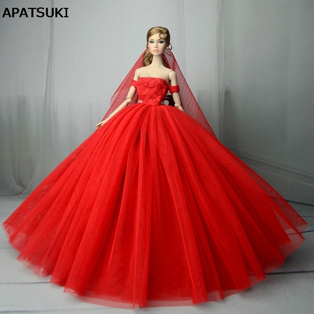 Red Wedding Dress for Barbie Doll Princess Evening Party Gown Clothes Wears  Long Dress Outfits With Veil 1 6 Doll Accessories 96839b20b538