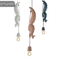 Nordic Creative LED Hanglamp Squirrel Shape Hanging Pendant Light Lamp For Dining Room Living Room Kids Room Pink Blue White E27