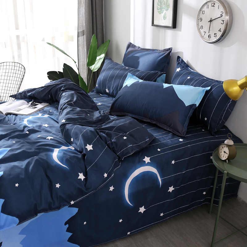 Темно-синий белый звездный узор 4 шт. 100% стильный комплект постельного белья из полиэстра пододеяльник комплект простыня наволочка Королева Король 4 размера
