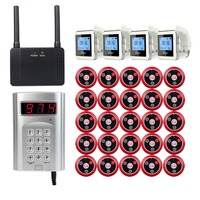 Wireless Pager Calling System 1pcs Keyboard Call Button Transmitter+4pcs Watch Receiver+1pcs Signal Repeater+25pcs Call Button