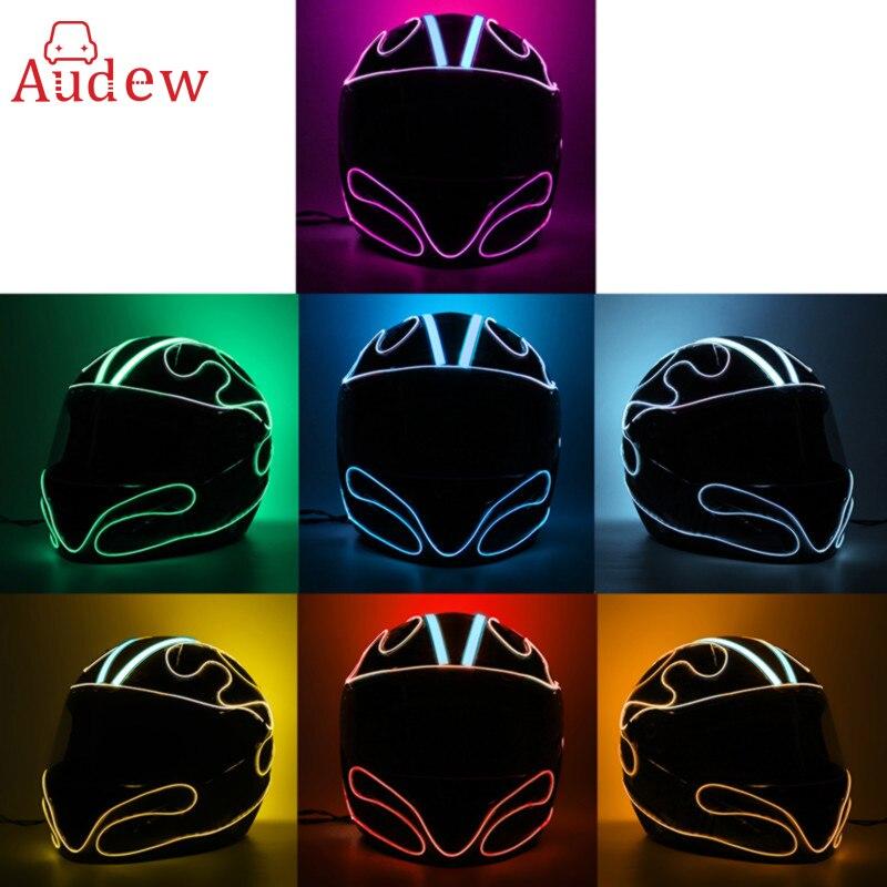 Us 143 20 Offneue 9 Farbe Motorrad Helm El Kalt Licht Streifen Fahrrad El Draht Diy Mode Dekoration Helm Aufkleber Licht Modus Nacht Signal In