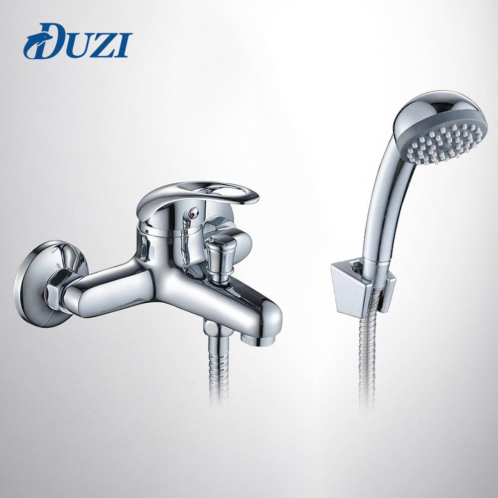 DUZI Classic Bathroom Shower Faucet Bath Faucet Mixer Tap With Hand Shower Wall Mount Shower Faucet Set+Bath Tub Mixer Tap D5201