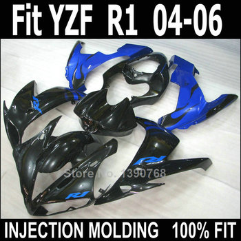 Motorcycle fairing kit for Yamaha YZF R1 2004 2005 2006 black blue body work parts fairings kit YZFR1 04 05 06 NV04