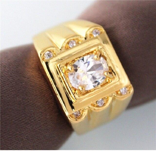stili di moda amazon 100% originale Anello placcato oro uomo – Gioielli con diamanti popolari
