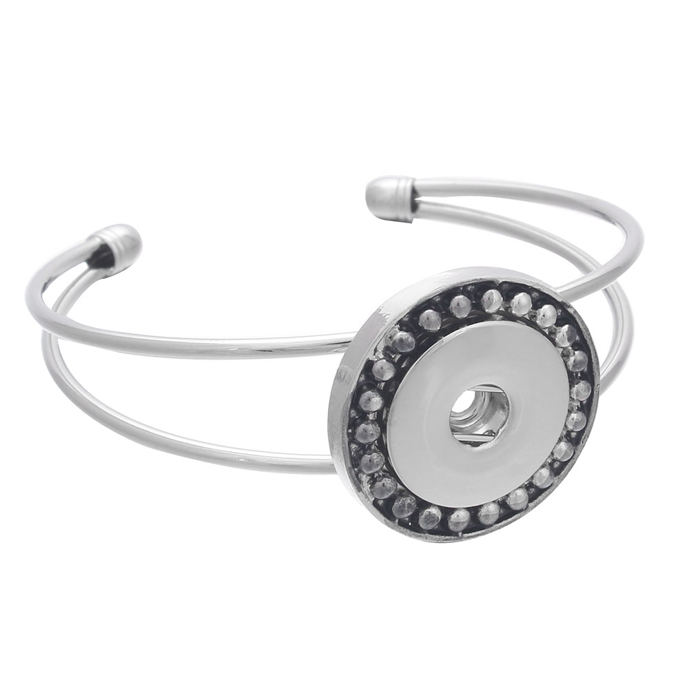 Newest Snap Button Bracelet Silver Metal Bangles Charms Bracelet Bangle For Women 18mm Snap Button Jewelry