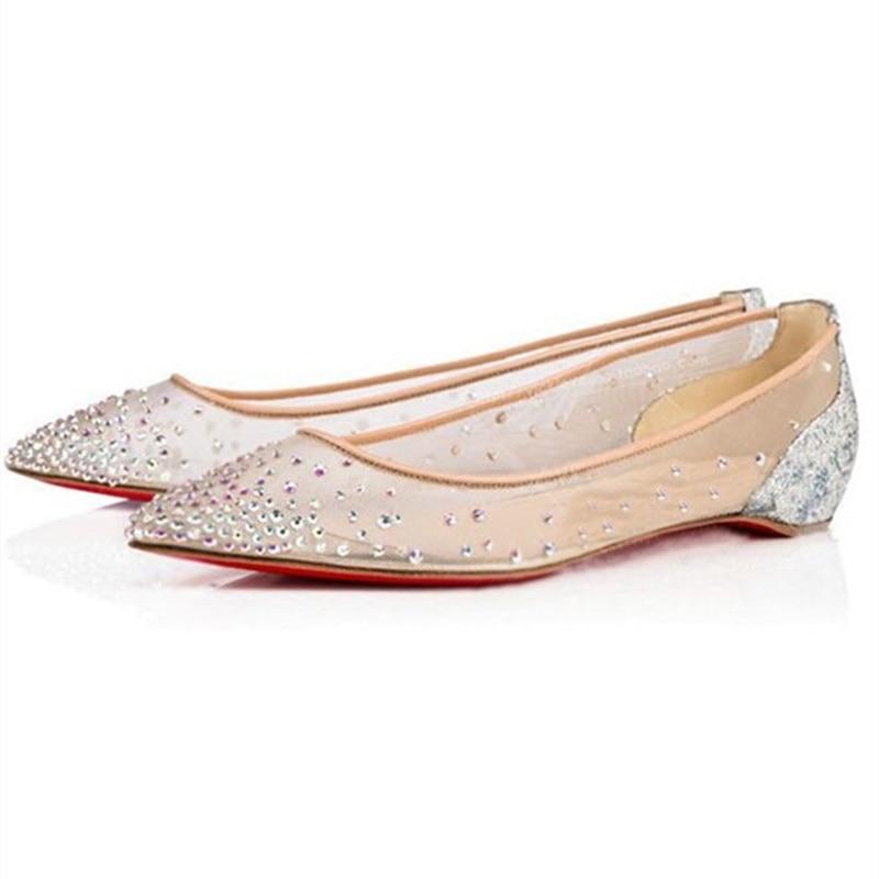 Koovan Women s Flats Rhinestone Shoes 2019 Summer Increase Flat Bottom Mesh Point Fairy Sequined Wedding