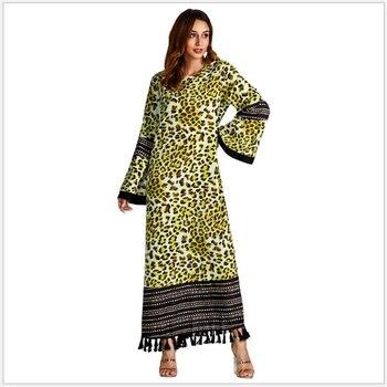 9492be498bee Модные Абаи мусульманское длинное платье для девочки женская мусульманская  ...