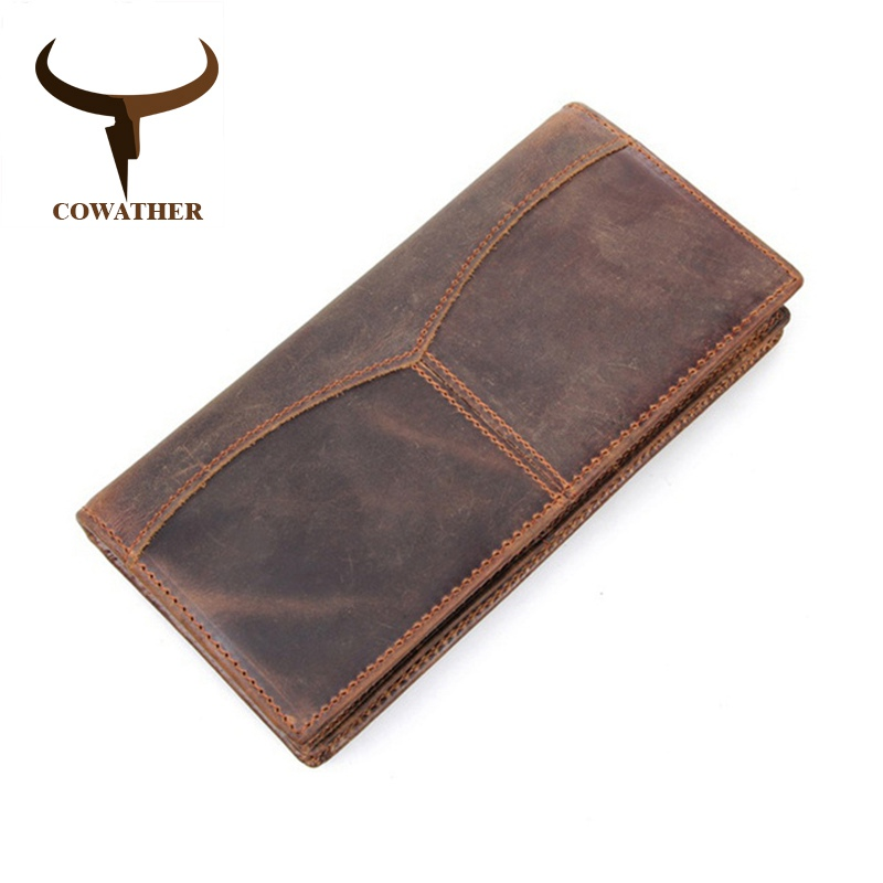 COWATHER top quality men wallets luxury crazy Horse genuine leather long vintage dollar male carteira masculina original brand baellerry small mens wallets vintage dull polish short dollar price male cards purse mini leather men wallet carteira masculina