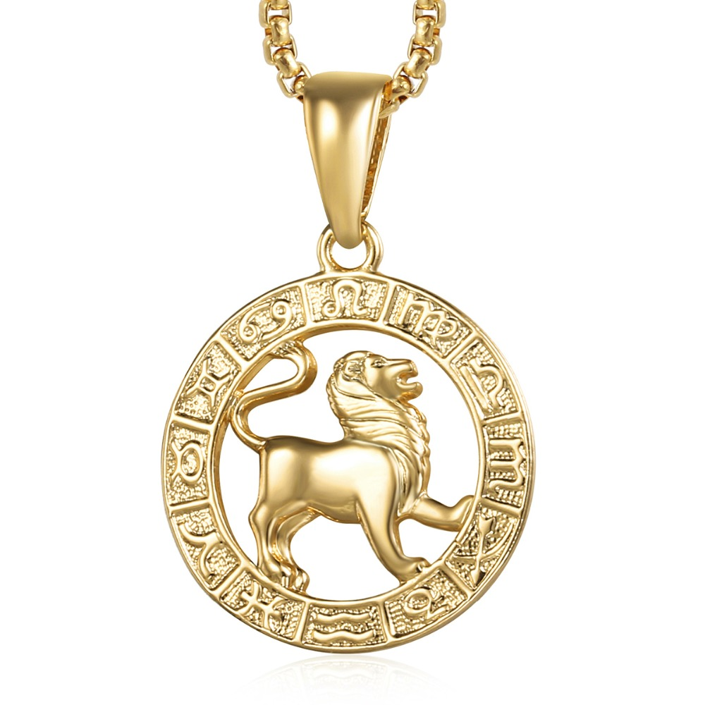 Leo Zodiac Sign Necklace For Women Men Yellow Gold Pendant Male Woman Fashion Jewelry Personal Birthday Gifts Gp361