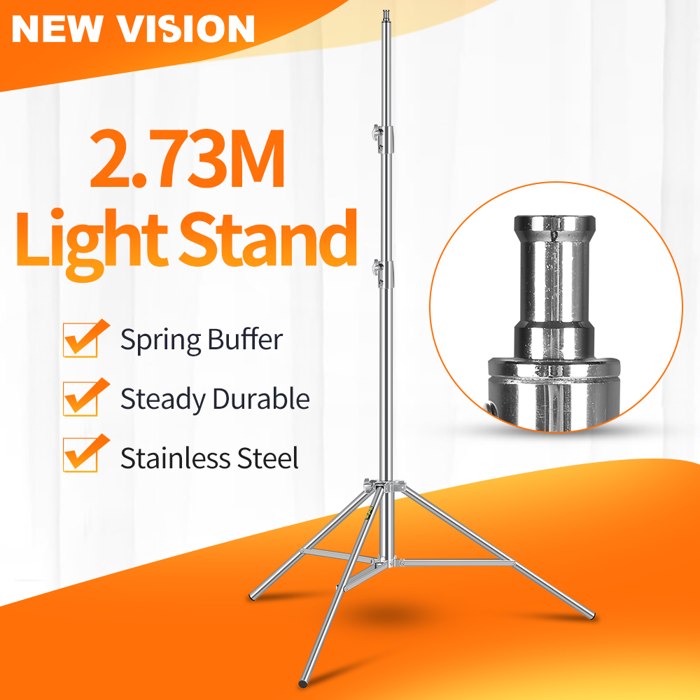 Stainless Steel 2 73M Heavy Duty Light Stand Tripod with for Photo Studio Softbox Video Flash