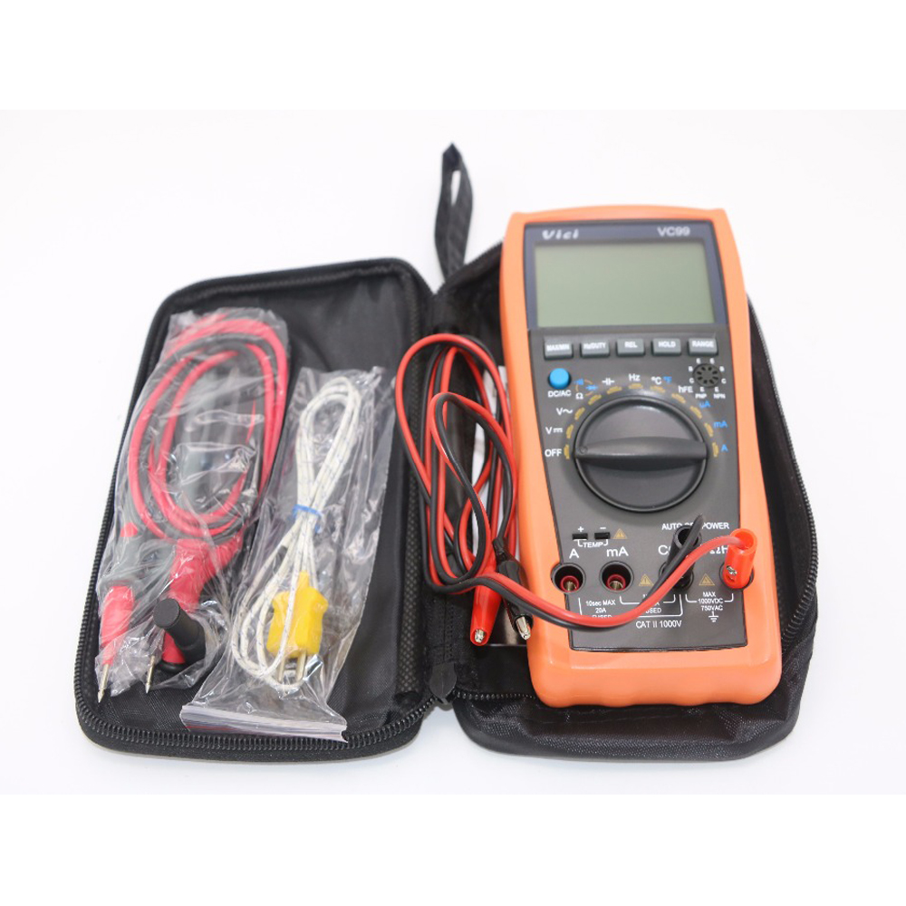 Vichy VC99 3 6/7 Auto range digital multimeter with bag & Alligator Probe(1m Length) vc99 auto range 3 6 7 digital multimeter 20a resistance capacitance meter voltmeter ammeter alligator probe thermal couple tk