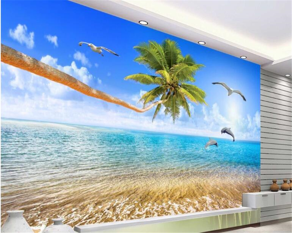 beibehang Custom personality wallpaper beautiful sea view coconut trees vast sea dolphin TV backdrop wallpaper for walls 3 d beautiful ocean