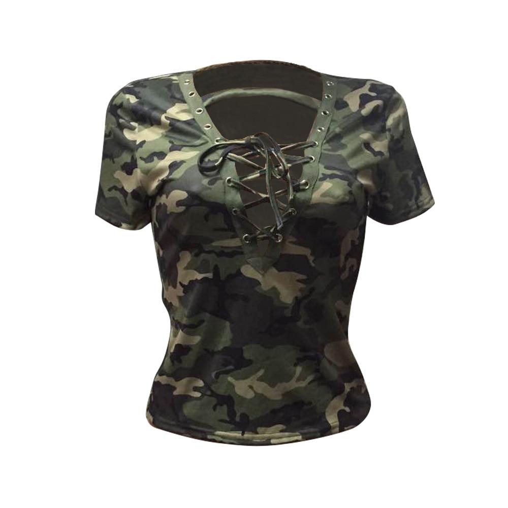 2018 Estate delle Magliette per le Donne Camouflage magliette Femminile  Fresco Top Moda Sexy Profondo Scollo A V Abbigliamento A Buon Mercato 476  in 2018 ... 690b1d0a01ad