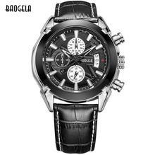 BAOGELA Fashion Men Quartz Watch Casual Waterproof Three-Eye Wrist Watch for Men Hot Black Brown Leather Watch for Male 2020