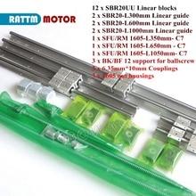 6 adet lineer kılavuz rayı kiti SBR20 300 600 1000mm + Ballscrew SFU1605 350 650 1050mm uç machinied + 3set BK/B12 + 1605 somun konut