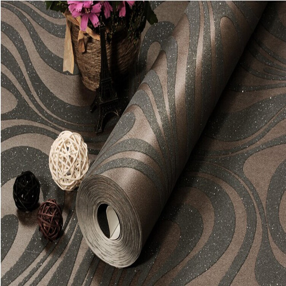 Q QIHANG 3D Abstract Curve Luxury Flocking Striped Wallpaper Black Brown 0 7m 8 4m 5 88m2 in Wallpapers from Home Improvement
