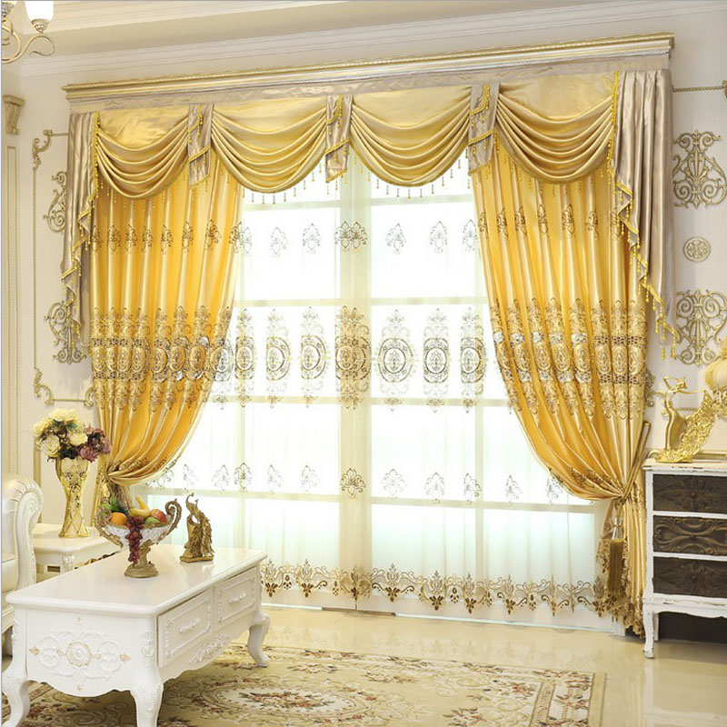 Buy Set Luxurious Jacquard Curtains For Living Room Window Valance Europe Style