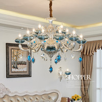 New Luxury K9 Crystal Chandeliers Lighting Bule Candle LED Pendant Hanging Living Room Lustres De Cristal Lamp Fixtures