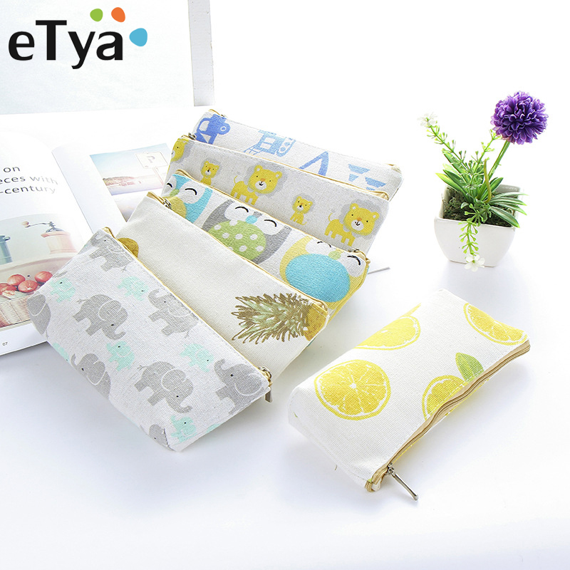 eTya Women Travel Toiletry Pencil Make Up Makeup Case Storage Pouch Cosmetic Bag Purse Small Cosmetics Lipstick Brush Organizer
