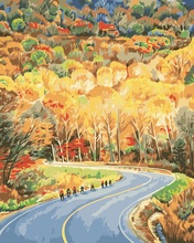 Road and Forest Lscape Oil Painting picture by numbers on canvas paintings  with a frame no