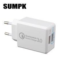 Sumpk usb carregador de parede ue carregador rápido 3.0 30 w rápido carregador do telefone móvel para samsung huawei lg