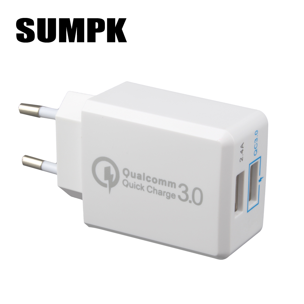 SUMPK USB Wall Charger EU Quick Charger 3.0 30 W Fast Mobile Phone Charger για Samsung Huawei LG